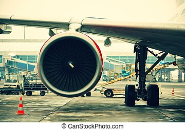 Airport - Preparing the aircraft before take off.