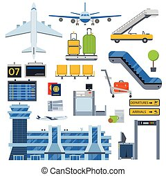 Airport symbols vector set. - Nice vector concept layout on ...