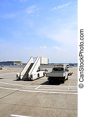 Airport taxiway and van - This photograph represent an van...