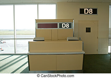 Airport Terminal - Airport termical interior with gates and...