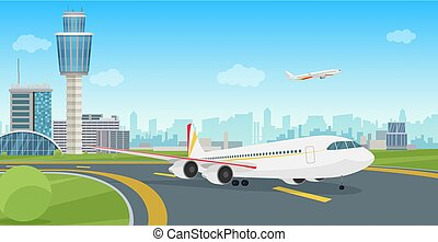 Airport Terminal building with aircraft airplane taking off. Vector airport landscape.