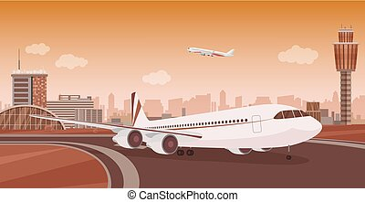 Airport Terminal building with aircraft taking off. Monochrome mono color vector airport landscape.