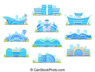 Airport terminal buildings. Architecture icons