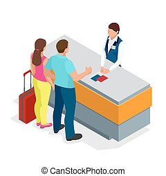 Airport terminal concept with passenger transportation. Passport control. Flat 3d isometric isolated vector illustration