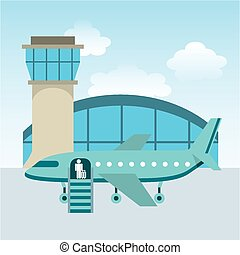 Airport Terminal Design Vector Illustration Eps10 Graphic