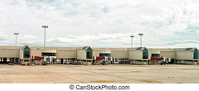 Airport terminal docks. View from outdoors.