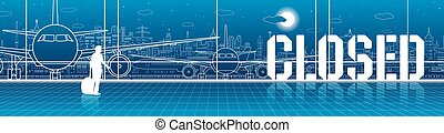 Airport terminal does not work. Air traffic closed. Quarantine. Airplanes stand on the runway. Vector illustration