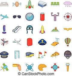 Airport terminal icons set, cartoon style