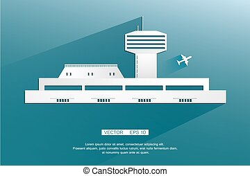 Airport, Terminal landscape. Air crafts. Vector background, flat illustration.