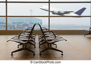 Airport terminal - View from the airport terminal to a...