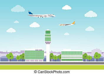 airport terminal with aircraft flying flat design vector