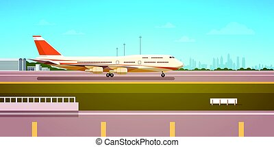 Airport Terminal With Aircraft Flying Plane Taking Off