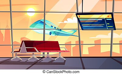 Airport terminal with flight schedule vector illustration