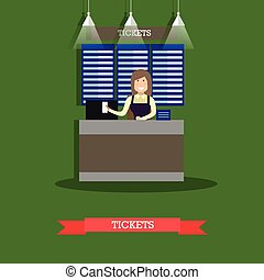 Airport ticket counter vector illustration in flat style