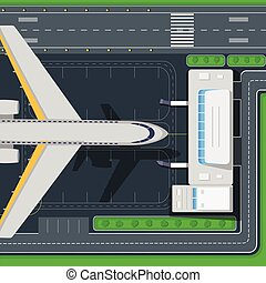 Airport Top View Vector Concept in Flat Design