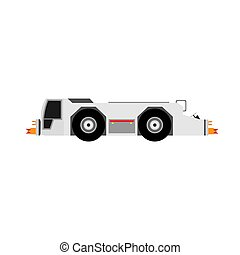 Airport tow truck vector flat side view. Evacuation transportation airplane service rescue