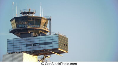 Airport traffic control tower - Control tower at the airport...
