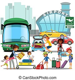 airport transfer, public transport like car and bus, happy family mother with kids kepp his luggage for transportation, taxi waiting for passengers vector illustration