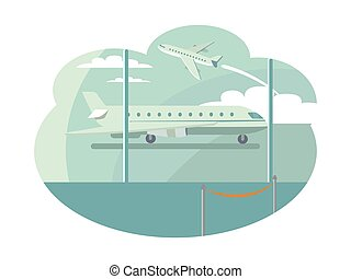 Airport Transportation Set Vector Illustration