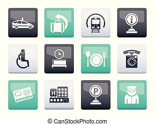 airport, travel and transportation icons 2 over color background