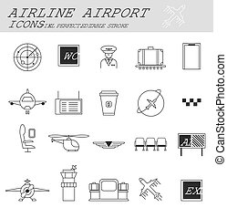 Airport, travel and transportation icons.
