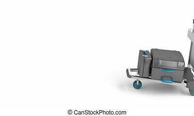 Airport trolley drive from right to left on white background