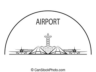 Airport. Air terminal building isolated on white. Vector...