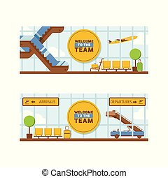 Airport vector departure arrival terminal airports building escalator seat in illustration backdrop traveling by airplane transport plane flight background set