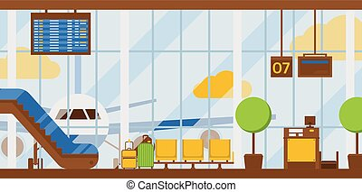 Airport vector departure arrival terminal airports building escalator seat in illustration backdrop traveling by airplane transport plane flight background