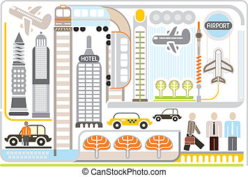 Airport - vector illustartion - Airport - vector...