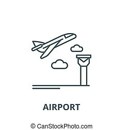 Airport vector line icon, outline concept, linear sign