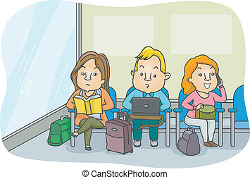 Airport Waiting Area - Illustration of Passengers Keeping...