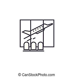 airport waiting room vector line icon, sign, illustration on background, editable strokes