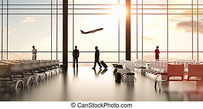 airport with people and airliner in sky