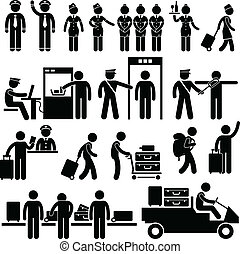 A set of pictograms representing airport pilot, captain, air hostess, stewardess, security officer, immigrant and passenger.