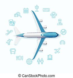 Airport World Travel Concept. Vector