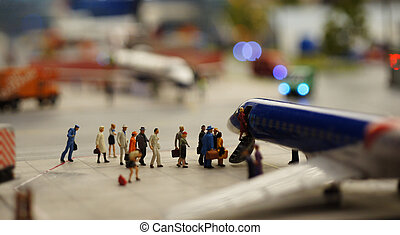 Passengers boarding - airportPassengers boarding a plane at...