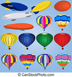 Airship And Balloon Icons - Vector illustration of different...