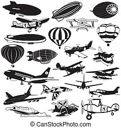 airship black icons - Air transport and flying machine...