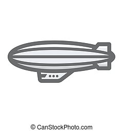 Airship blimp filled outline icon, transport and air vehicle...