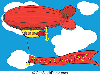 airship with Merry Christmas banner. Illustration clip art