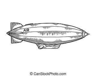 Airship dirigible engraving vector illustration - Old ...