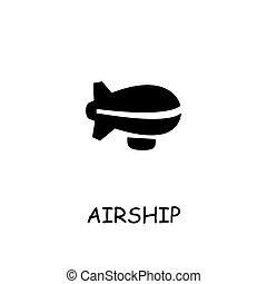 Airship flat vector icon