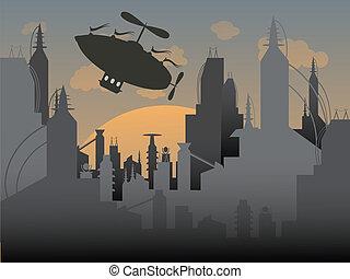Airship flies away from a futuristi