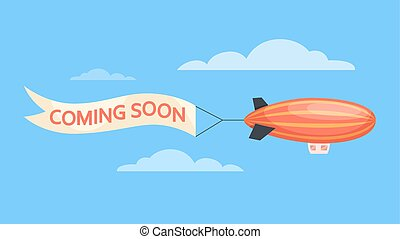 Airship flying in the sky with a coming soon message