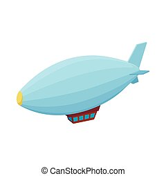 Airship icon, cartoon style