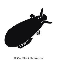 Airship icon in black style isolated on white background. Transportation symbol stock vector illustration.