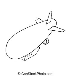 Airship icon in outline style isolated on white background. Transportation symbol stock vector illustration.