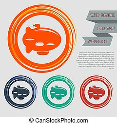 Airship Icon on the red, blue, green, orange buttons for your website and design with space text. Vector