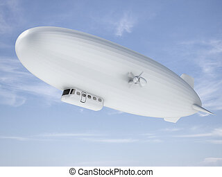 Airship in sky - White Airship in blue sky. 3d render